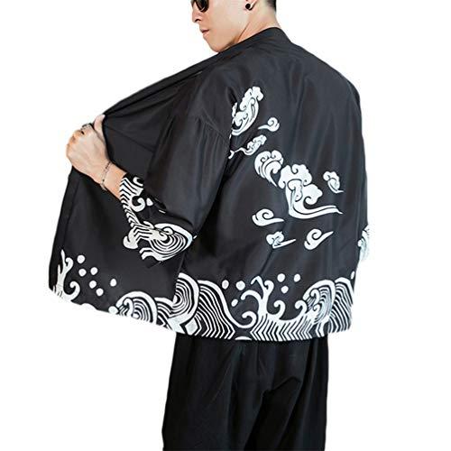 GUOCU Cappotto Uomo Kimono Jacket Cardigan Giapponese Stampa Cappotto Vintage Cloak Loose Fit Colore1 L