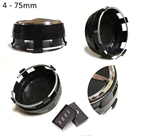 UG Tapacubos de repuesto 4 x 75 mm, color negro, elevado, compatibles con remaches de llantas de aleación – Clase A, B, C, E, CLK, GL, M, ML y SLK