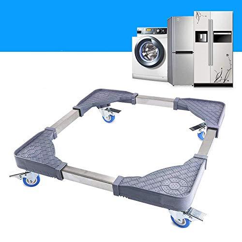 CJGQ Base móvil con 4 ruedas giratorias de goma bloqueadas, tamaño ajustable, universal, base móvil para lavadora, refrigerador, aire acondicionado vertical y muebles