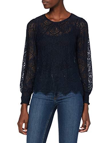 Morgan T-Shirt Manches Longues Dentelle Tommy Camiseta, Marina, TXS para Mujer