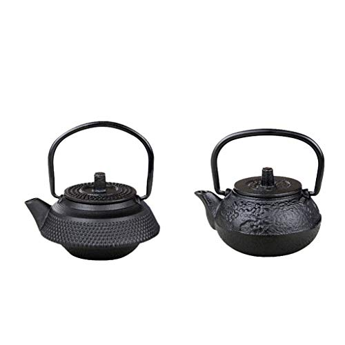 Serenable 2 peças chaleira retrô estilo japonês tetsubin pote de chá colecionável 50 ml preto
