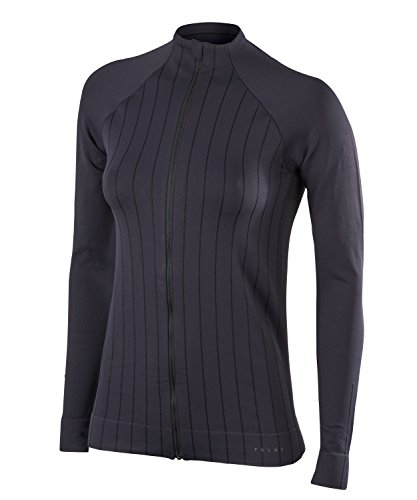 FALKE Damen, Langarmshirt Full Zip Pullover Funktionsfaser, 1 er Pack, Schwarz (Black 3001), Größe: L