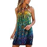 OverDose Soldes Robe Babydoll Courte Femme Été Manches Cloche, Sexy Mini T-Shirt à Carreaux Robes de Plage Vichy Plissée Dress Rose Bleu Orange