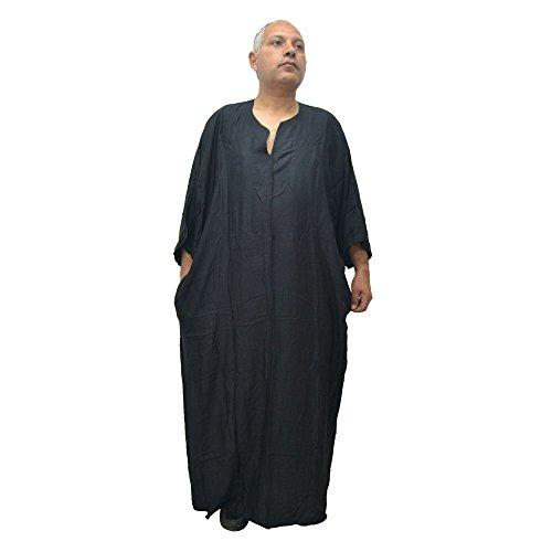 Chilaba, Djelaba, Galabeya, Baumwolle Kandora, marokkanisch, eine Größe für alle und sogar sehr dicke Menschen, misst 90 cm breit und 150 cm lang. Es schrumpft nicht (Schwarz)