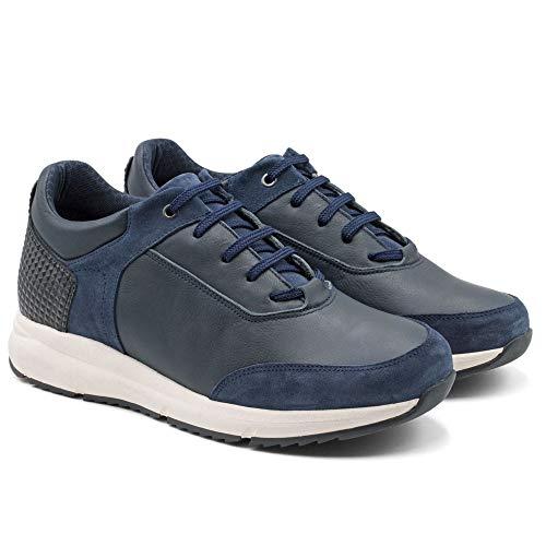 Zapatos de Hombre con Alzas Que Aumentan Altura hasta 7 cm. Fabricados EN Piel. Modelo Arizona (Azul, Numeric_41)