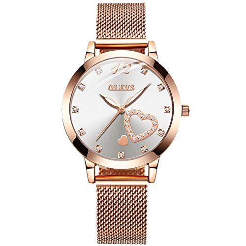 RORIOS Fashion Mujer Relojes Moda Cuarzo Pulsera Relojes con Crystals Elegante Niña Relojes con Mesh Correa en Acero Inoxidable Women...