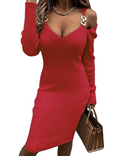 Tomwell Vestido Punto Mujer Manga Larga Cuello V Vestidos Elegante Jersey Casual Invierno Fiesta Sexy Color Sólido Sueter Sudadera A Rojo L