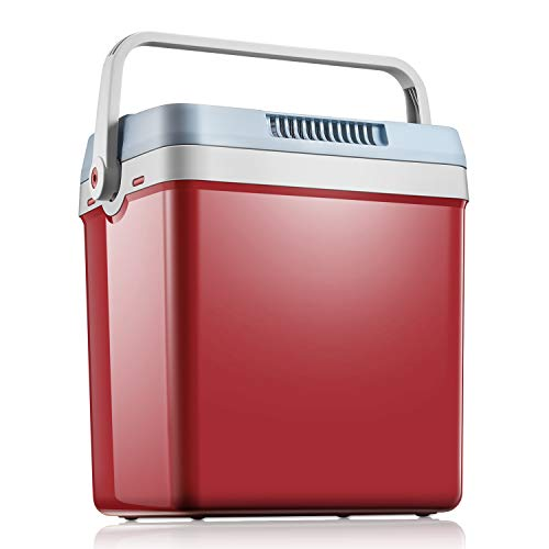 Kühlbox WÄRMT und KÜHLT Elektrische Kühlbox 24L Thermo-Elektrische Mini-Kühlschrank 12 Volt und 230 Volt für Auto und Zuhause, mit Automatischer Griff, ECO-Modus