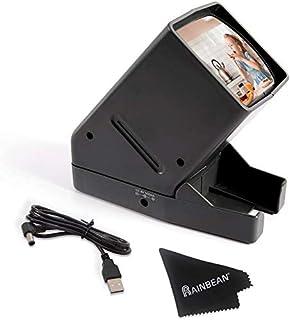 RAINBEAN 35 mm diaprojector, USB draagbaar negatief met LED-verlichting op het bureau - 3-voudige vergroting, geschikt voo...