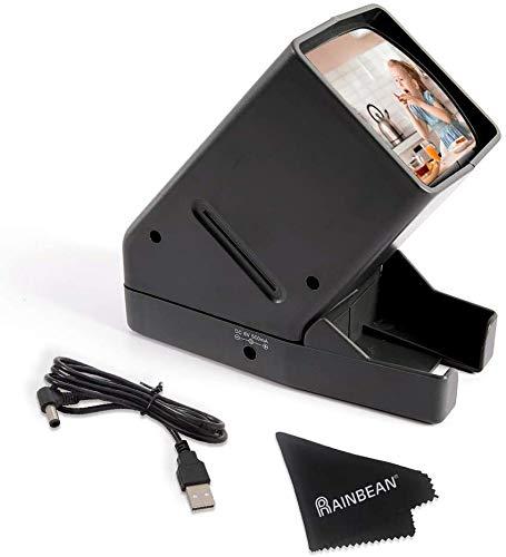 RAINBEAN Proyector de diapositivas de 35 mm, USB portátil con iluminación LED en el escritorio, 3 aumentos, adecuado para 2 x 2 proyectores de diapositivas para negativos de mano con positivo