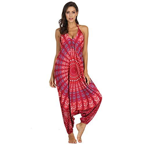 NCTCITY Mono De Mujer Harem Pantalones Tailandes Playsuit Sueltos Yoga Trousers Verano Casual Danza Yoga Pants V-Cuello Sin Mangas Tirantes Jumpsuit Casual Baggy Pantalones