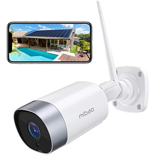 Security Camera Outdoor, Mibao 1080P WiFi Camera, IP66 Waterproof, with Two-Way Audio, Night Vision, Motion Detection, Compatible with iOS/Android (Use Wired Power)