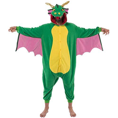 Spooktacular Creations Unisex Erwachsene Pyjama Jumpsuit, Plüsch Onesie Einteiler Drache Tier Kostüm, Cosplay Halloween Karneval (Small)