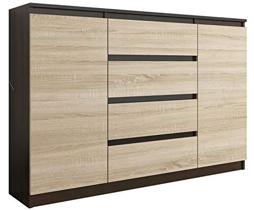 FRAMIRE R-140-S4 Kommode in Eiche Wenge Mix Sonoma Eiche, Kommode mit 4 Schubladen, 2 Türen, Schrank für Schlafzimmer, Wohnzimmer, Bad, 98 x 139 x 40 cm