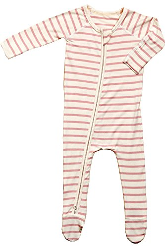 Boody Body Baby EcoWear Long Sleeve Onesie - Soft Blanket Sleeper with Built in Mittens Made from Natural Organic Bamboo - Soft Eco Fashion for Sensitive Skin - Striped Rose Pink-Chalk, 0-3 Months