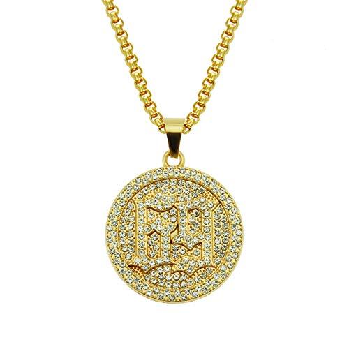 N/A Collar de Estilo Europeo con Incrustaciones de Hip Hop y números chapados en Oro Collar con Colgante Militar Redondo Dorado Amarillo-0.3 * 75cm Cadena de celosía