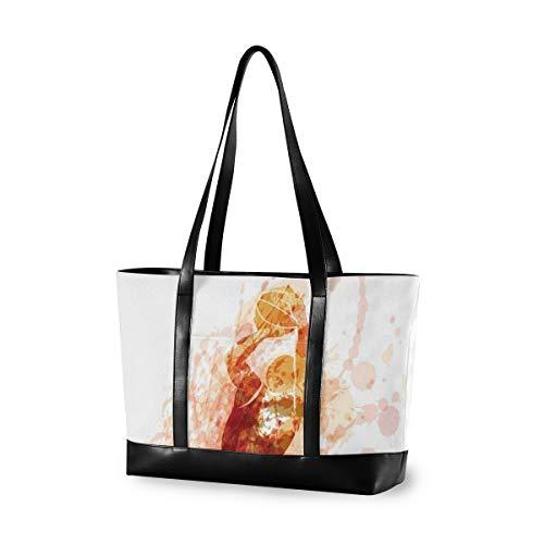 LZXO Laptop-Tasche, 15,6 Zoll, Aquarell, Sport, Basketball, Damen, große Schultertasche, Reißverschluss, leicht,Handtaschen
