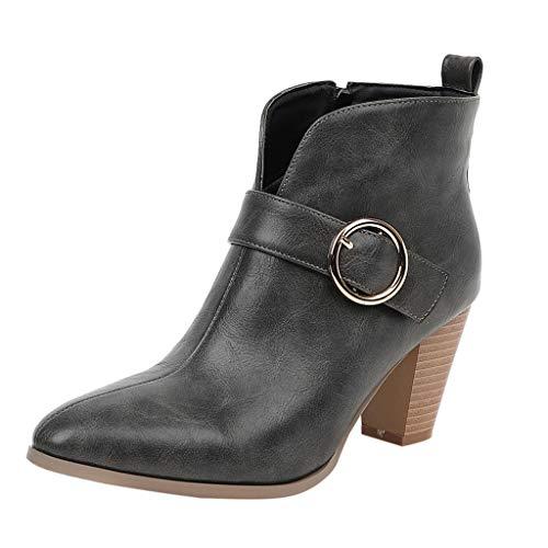 MOTOCO Damen High Heel Stiefeletten Fashion Block High Heel Volltonfarbe Knopf Leder Spitz Reißverschluss Booties(37 EU,Grau)