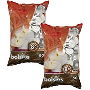 BOLSIUS Tea Lights Candles - Pack of 100 White Unscented Candle Lights with 8 Hour Burning Time - Tea Candles for Wedding, Home, Parties, and Special Occasions