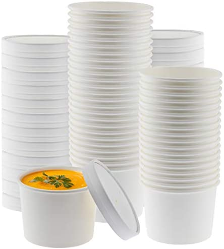 NYHI Paper Soup Storage Containers With Lids 16 Ounce Insulated Take Out Disposable Food Storage product image