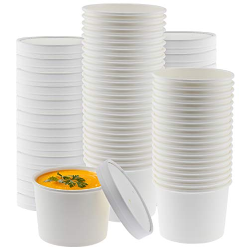Paper Soup Storage Containers With Lids | 8 Ounce Insulated Take Out Disposable Food Storage Container Cups For Hot & Cold Foods | Eco Friendly To Go Soup Bowls With Vented Lid | 50 Pack
