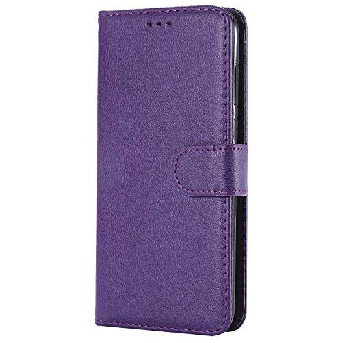 Bear Village® Hülle für Huawei P Smart, Flip Leder Handyhülle Tasche mit Kartensfach, TPU Innere Ledertasche, 360 Grad Voll Schutz, Violett
