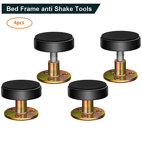 Adjustable Threaded Bed Frame Anti-Shake Tool,Headboard Stoppers,Bedside Antishake Telescopic Support Stabilizer for Room Wall, Beds, Cabinets, Sofas 32-45mm(4pack)
