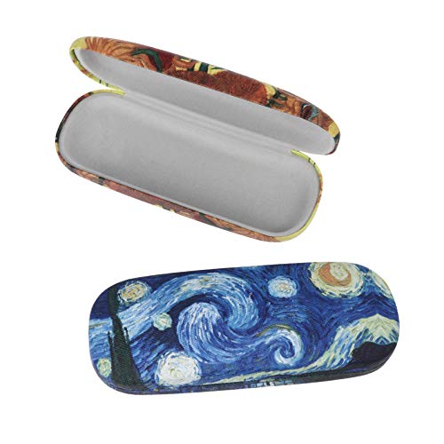 HEALLILY 2 fundas rígidas para gafas de sol, pintura al óleo, de cuero, para mujeres, hombres y estudiantes