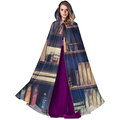 Zome Lag Vampir kostuum, hekmagie omhanging, volwassene luxe omhang,kap met capuchon, vlekkeloos beeld veel oude boeken over boekenrek in weegschaal vrouwen cape cape cape cape cape