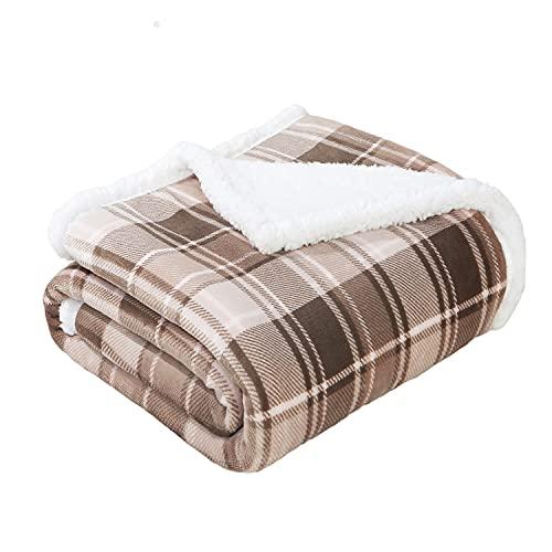 "SEDONA HOUSE Sherpa Fleece Plaid Throw Blanket, Thick Plush Warm Blanket Fuzzy Cozy Soft Blanket for Sofa Bed Travel, 50""x60"", Brown"