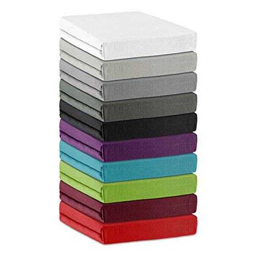 BaSaTex Microfaser Spannbettlaken für Wasserbetten und Boxspring in der Größe 200x220 cm mit 40cm Steg Silber