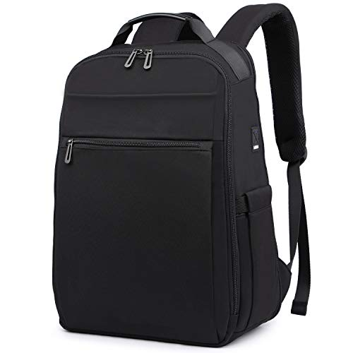 HYZUO 15.6 Inch Travel Laptop Backpack with USB Charging Port Anti-Theft Water Resistant Multifunction Lightweight Business School Bag, Black