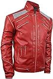 Dizller MJ Beat It, Michael Jackson Silver Mesh Red Faux Leather Jacket (L (44' - 45')), Large