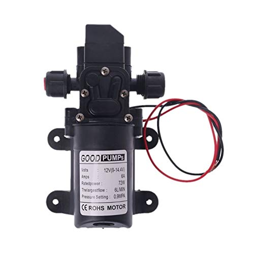 Bomba de agua DC Válvula inteligente DC 12V 130PSI 6L / MIN Agua Diafragma de alta presión Auto Primping Pump 70W Fuerte succión (Color : Black)