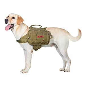 OneTigris Dog Backpack for Hiking Nylon Dog Harness Backpack with Side Pockets for Large Dog with 22″-31.5″ Neck Girth and 29″-35.8″ Chest Girth (Coyote Brown, Large)