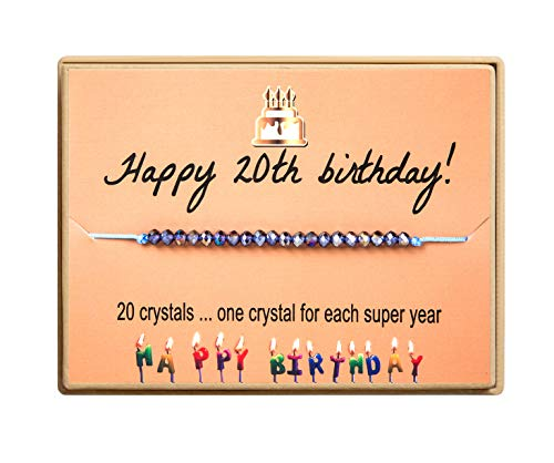 Birthday Gift for Sweet 20 Birthday Bracelet Gift 20 Year Old Girls Crystal Beads Adjustable bracelet With Message Card for Women