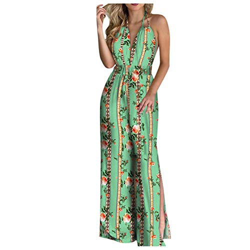UNSKAM Baggy Sleeveless Women fashion halter backless slit leg floral print jumpsuit Women Jumpsuits Casual Playsuits Unique design comfortable friendly and breathable fabric