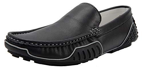 Yaer Uomo Pelle Mocassini Piatte Comfort Antiscivolo Loafer Slip On Guida Scarpe Pantofole (Nero,42 EU)