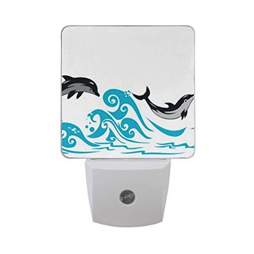 LINPM Led Nachtlicht mit Smart Dusk to Dawn Sensor, Delfine springende Meereswellen Plug-In Nacht für Schlafzimmer Badezimmer Flur Treppen oder jeden dunklen Raum , 2 Pack