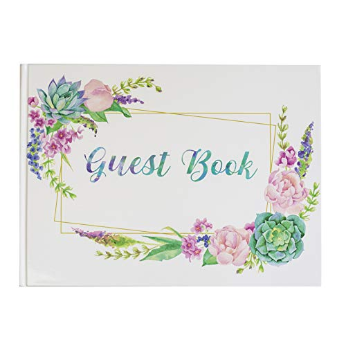 Guest Book Hardcover Photo Book Set Watercolor Floral Succulent Guest Book White 120gsm Blank Pages 8.25x11.75 Inches 120GSM Paper Self Adhesive Photo Corner Birthday Party Wedding Anniversary Funeral