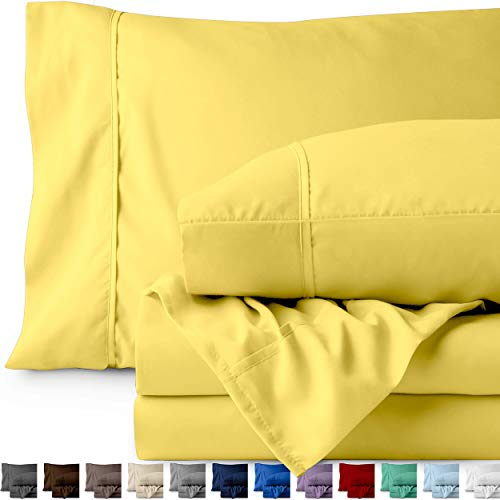 Bare Home Premium 1800 Ultra-Soft Microfiber Sheet Set Twin Extra Long - Double Brushed - Hypoallergenic - Wrinkle Resistant (Twin XL, Lemon Drop)
