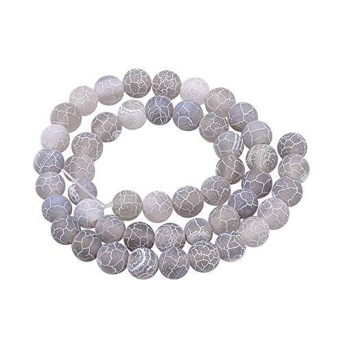 Aproximadamente 38 piezas de cuentas de ágata natural desgastadas hebras de cuentas de piedra redondas teñidas esmeriladas para hacer joyas, 10 mm