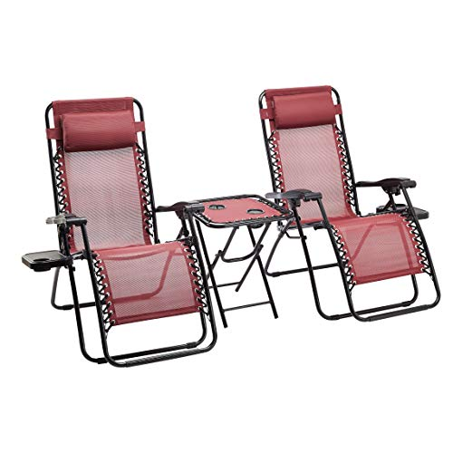 Amazon Basics - Set de 2 sillas con gravedad cero y mesa auxiliar, de color rojo