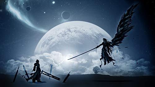 Kunstdruck auf Leinwand, Motiv: Cloud Vs Sephiroth Final Fantasy Xv Game Art Leinwandbild für Schlafzimmer, Wohnzimmer, Dekoration, 4 rahmenlose Geschenke, 30 x 46 cm, S-215