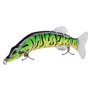 "Bassdash Swimpike Multi Jointed Swimbaits Bass Fishing Lure Hard Body Soft Fins 8"" 2-1/2oz, 4 Colors, (Perch)"