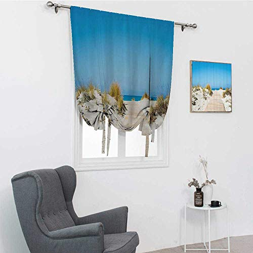 """GugeABC Seaside Decor Collection Roman Shades for Windows, Pathway on The Tropic Sandy Beach Recreation Hot Warm Sunny Leisure Pleasure Time Photo Roman Blinds for Window, Cream Blue, 42"""" x 72"""""""