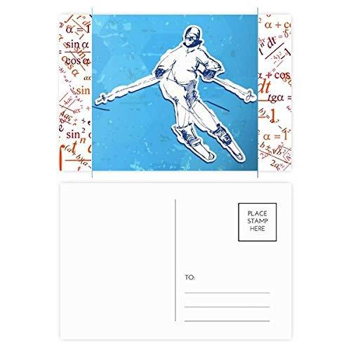 Postkarten-Set für Wintersport, Snowboarden, Illustration, Formulierung, Dankeskarte, 20 Stück