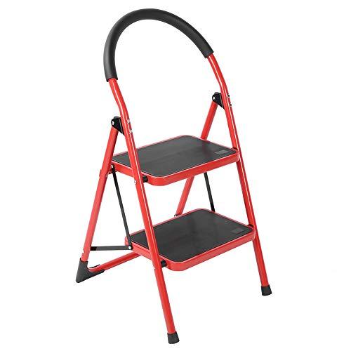 Zerone Escalera plegable de diseño, portátil, plegable, de un solo lado, pasamanos redondo, mueble para el hogar (2 peldaños)