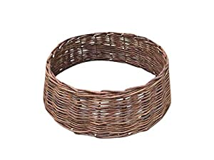 "Use this natural willow ring indoors and outdoors. Decorative and functional as a plant protector. Helps to retain mulch around a tree or plant. No assembly required. 8""H x 24""W"