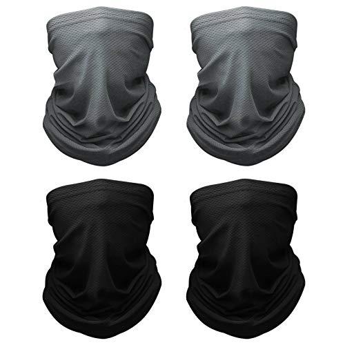 mylovetime 4 Stück Multifunktionstuch, Schlauchschal Herren Damen Loop Schal Gesichtstuch Balaclava für Wandern Laufen Motorrad(2 Schwarz + 2 Grau)